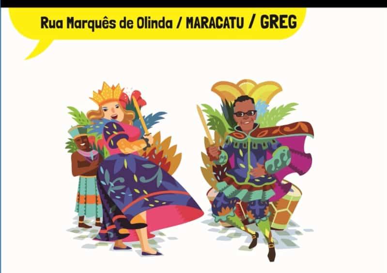 rua marquês de olinda maracatu Greg - Decoração de Carnaval leva o cartum às ruas do Recife