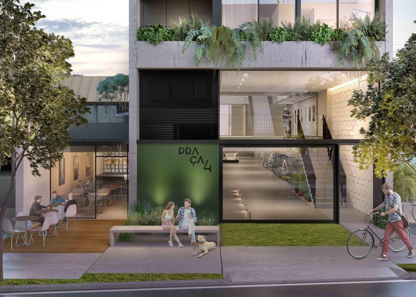 Fachada com espaço comercial - Vida moderna inspira projeto em Porto Alegre