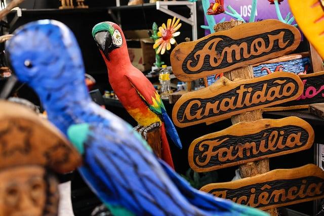 Imagem de uma arara colorida e objetos em madeira
